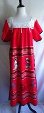 VTG Folk Art Oaxacan Mexican Dress Boho Embroidered People Lace Festival Caftan