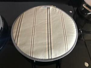 Grey Stripe Chefs Pads Hob Covers for Aga PAIR Organic Cotton British Made