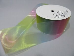 10mm 15mm 25mm 38mm 50mm Light Pastel Organza Rainbow Unicorn Ribbon Gradient