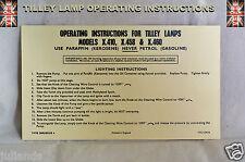 TILLEY LAMP X.410   X.458.  &  X460 INSTUCTIONS CARD LEAFLET