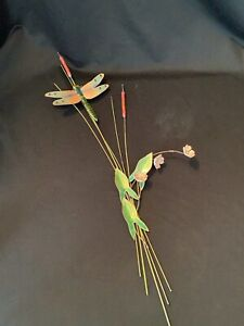 Vintage Bovano Copper Enamel Dragonfly on Cattails Flowers Spray Wall Art