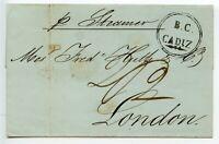 """SPAIN 1848 British Consul `B.C./ CADIZ` in circle /wrapper to London - m/s """"2/2"""""""