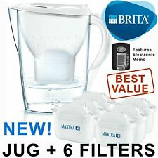 BRITA Marella Caraffa filtrante acqua fredda più 6 CARTUCCE MAXTRA + (BRAND-NUOVO-SIGILLATO)