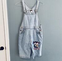 Vintage Disney Women's Size M Mickey Minnie Mouse Denim Short Overalls