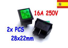 2x interruptor 220V Verde iluminado switch ON/OFF SPDT 125v 250v 230v  123