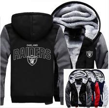 Winter Thicken Hoodie Team Oakland Raiders Warm Sweatshirt Lacer Zipper Jacket