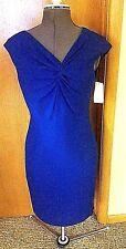 NEW $310 Kay Unger size 12 Royal Blue Cap Sleeve Knot Cocktail Sheath Dress