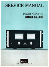 SANSUI BA-5000 STEREO POWER AMP SERVICE MANUAL INC BLK DIAG SCHEM PRINTED ENG