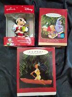3 Disney HALLMARK Ornaments Mickey, Winnie The Pooh & Pocahontas
