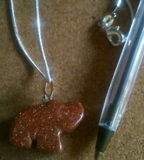 Crystal healing Goldstone elephant gem pendant & Sterling silver chain.UK SELLER