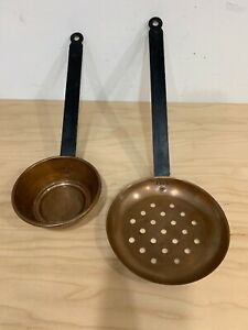 Vintage Set Of Two Copper Ladle & Strainer /Skimmer With Metal Handle.