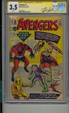 AVENGERS #2 CGC 3.5 SS SIGNED STAN LEE WHITE PAGES 1ST APP SPACE PHANTOM