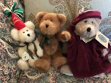 Lot Of 3 Boyd's Bears Auntie Lola, Happy Birthday Hat, Brown Bear Green Bow #D4