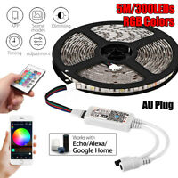 5M WiFi Wireless RGB Smart Strip LED Light Kit For Alexa Smart Google Home