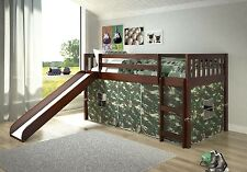 Toddler Bed with Slide & Camoflauge Tent