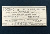 1938 Newspaper Clipping BOXING ULSTER HALL BELFAST. JIMMY WARNOCK, SPIDER KELLY