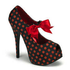 "* Bordello 5.75"" Heel Black Red Polka Dot Peep Toe Platform Heels Shoes 6"