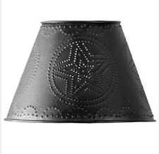 """COUNTRY PRIMITIVE FARMHOUSE DECOR 10"""" PUNCHED STAR METAL LAMP SHADE IN BLACK"""