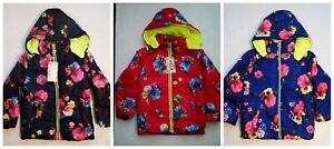 Kidsy Girl Navy Blue Pink Floral  Coat  Hooded  Jacket 3-7Years