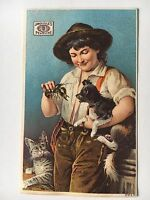 Victorian Trade Card James Pyle's Pearline Girl w/ Dog and Cat