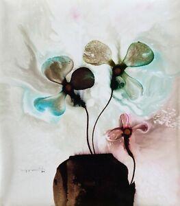 Jose Tonito Original Handmade painting on real CANVAS.3 flowers.Fantastic art