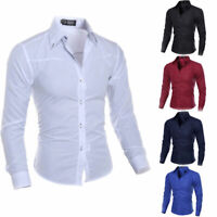 New Fashion Mens Luxury Casual Stylish Slim Fit Long Sleeve Casual Dress Shirts
