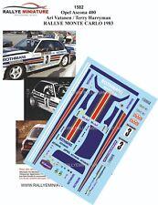 DECALS 1/43 REF 1582 Opel Ascona 400 Ari Vatanen  RALLYE MONTE CARLO 1983 RALLY