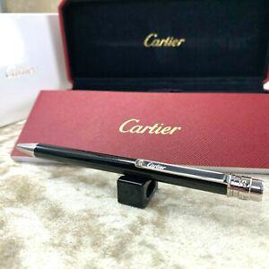 Authentic Cartier Ballpoint Pen Santos Black Lacquer Silver Clip wBox&Papers NEW