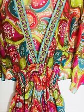 Womans M Trina Turk Swim Bathing Cover Up Colorful Paisley Print Gold Metallic