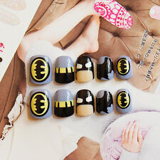 NEW 24pcs Batman Cute Girls Short False Fake Nails Tips Sticker Glue Gift N3062
