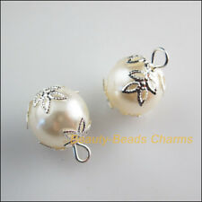10Pcs Silver Plated Flower Bead End Caps White Acrylic Beads Charms Pendants