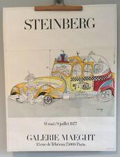 1977 Original Vintage Lithograph Poster Saul Steinberg Galerie Maeght Arte Paris