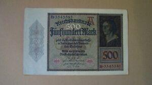Germany 500 Marks 1922 Reichsbanknote