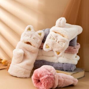 """""""Cat Girl"""" Cute Women Gloves Girls Mittens Furry Plush Soft Touchscreen"""