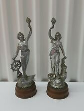 Junk Drawer Items / Antique Man/ Lady /Metal Figurines With Copper Bases. Nice .