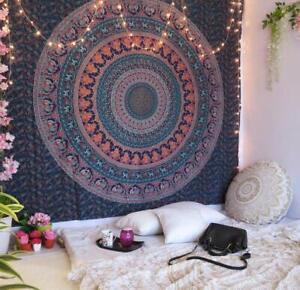 Indian Cotton Twin Psychedelic Cotton Tapestry Floral Wall Hanging Star Mandala