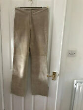 Planet Suede leather ladies trousers, beige, size 8