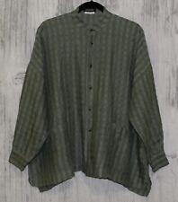 Eskandar Green Linen Gauze Lagenlook Pockets Oversized Tunic Top Shirt Size 0