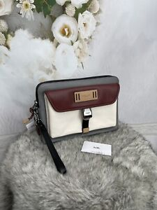 Coach Ranger Pouch With Colorblock Bag NWTS Chalk/Grey/burgundy $298 4301 Sale!