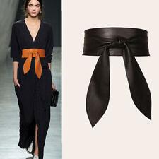Faux Leather Waist Belt Fashion Elegant Wide Belt Wrap Self Tie Bow Waistband