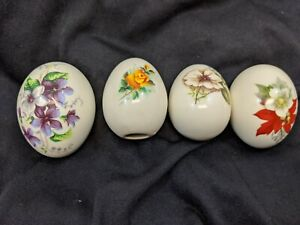 1980s Set of 4 Eggs white porcelain glass collectables