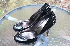 ZU Silver Studded Black Gloss 11.Stiletto,Small Platform Size 7.5 24.5 cm inside