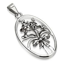 Stainless Steel Flower Bouquet in Oval Frame Pendant P217