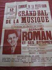 affiche orchestre BERNARD ROMAN bal Petite Raon Vosges 88 année 1953 ( ref 22 )