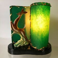 TV LAMP~LEAPING DEER FAWN DOE~CERAMIC~STEWART McCULLOCH~FIBERGLASS SHADE CALIF