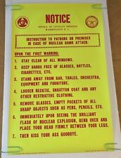 Notice Nuclear Attack Houston Blacklight Vintage Poster Kiss @!# Goodbye 60's