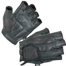 Xelement Men's Black Leather Deerskin Fingerless Motorcycle Bike Gloves 2XL