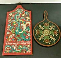 Vintage Hand Painted Swedish Wooden Berggren & Jones Original Bread Boards (2)