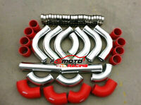 "2.5"" 64mm Aluminum 12pcs Universal Intercooler Turbo Piping+Red hose+Clamp kits"