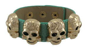 Zeckos Leather Wristband with Rose Gold/Copper Metal Skull Studs